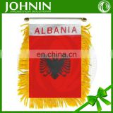 promotional print decoration elastic hanging car mirror flag albania