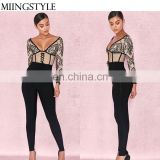 Hot sale spring bodycon V neck long sleeve bandage fashion lace jumpsuit sexy for ladies