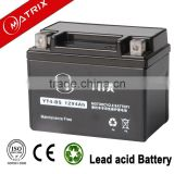 maintenance free motorcycle batteries ytx4-bs lead acid motor battery 12v 4ah rechargeable motorbike battery