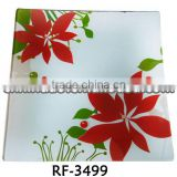 Professional Clear Flower Designed Glassware Sizzling Hot Plate for Decoration for Promotion