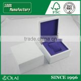Glossy White Piano Lacquer Wooden Watch Box Purple Inside