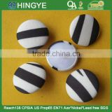 Black and white Strips Fabric Covered Shank Button -- F1508
