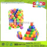 Colorful Wooden 2.5cm Cube Wooden Puzzle Building Blocks