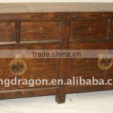 Chinese Antique Natural Finished Buffet four drawer four door cabinet