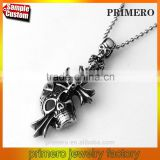 316L Stainless Steel Cross Inserting Skull Pendants Necklaces Cremation Punk Style Wholesale