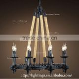 Fancy led the lamp candle illumination lamp Noedic retro industrial hemp rope led interior lights black metal chandelier