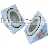 "Foldable Portable Mini Speakers 3 1/4"" With Audio Cable"