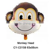 Monkey Head shape foil balloon Animal head helium balloon for party decoration kids play