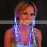 LED Fiber Optic Lights up Hair Alternating Multicolor Flash Barrette Clip Braid for New Years Eve Party