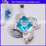 Many Designs !!! Created Opal And Square Light Blue Topaz And Pave Diamond Necklace Pendant