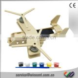Wholesale Promotional Gift DIY Painting Wooden 3D Puzzle Solar Fighter Plane