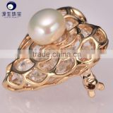 pearl rhinestone heart shape pearl brooch for decoration