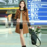 New fashion brown coats for ladies & lace cuff coat style for women&round collarless coat for women