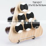 6pcs glass spice jar set with wooden rack (TW1017)