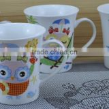 14OZ cute cartoon bird design one side decal printed coffee cups, shiny surface new bone china mug, KL5001-A410