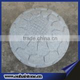 Beautiful lotus patterns natural sesame white color stone spheres manufacturer