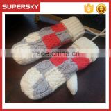 V-399 customied cable pattern fashion winter mittens gloves winter hand warmer mitten gloves knit arm warmer