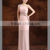 latest design pink one shoulder beading long gown elegant dress ladies                                                                         Quality Choice