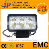 China Top Selling highly waterproof fast shipping 12v 24v led lights square led auto light 18w led work light