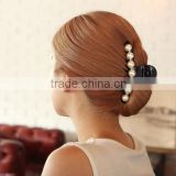Black Hair Claw Clip Crystal Pearl Plastic Hairpin Barrette Hair Band Accessories for Women Lady