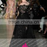 E21 Elegant Custom Made O Neck Long Sleeve Evening dresses Black Long Evening Gowns Tulle Heavy Beaded Vestido De Fiest