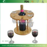Rotating Bottom Bamboo Table Standing Wine Holder with 6 PCS Glasses