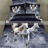 running white horses design 3D reactive printed bedding set 100% cotton