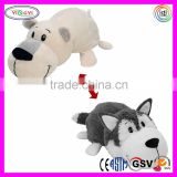 E389 Husky and Polar Bear Convertible Pillow Animal Stuffed Plush Transform Animal Pillow