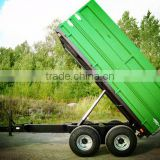 tractor hydraulic farm tandem tippping trailer, tipping wagon, dump trailer, dump wagon from 2Ton~8 Ton, rear and side tipping