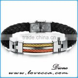 Jewelry Handmade PU Braided Leather Handcuff Charm Bracelet For Men