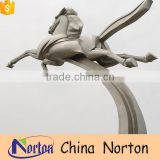 Square decor polished flying stainless steel horse sculpture NTS-089L