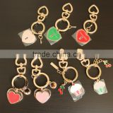 Customized Heart Shaped Keychain, Metal Girls Keychains,Exquisite Tiny Charms Bag Dangle Chain