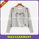 Wholesale Custom Fashion Pullover Grey Cartoon Portrait Print Ripped women Crop Hoodie Sweatshirt