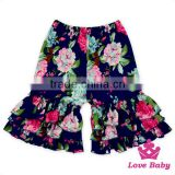 Top Selling Children Clothing Icing Triple Ruffle Printed Flowers Baby Girls 3 Layers Short Pants