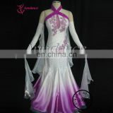 Professional Customizing High-grade Used Ballroom Dance Dresses For Sale White And Purple B-1073