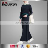 Fancy Islamic Sport Hoodie Abaya Long Jubah Dress Without Hood Navy Blue Muslim Women Sport wear