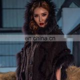 Raccoon and rabbit fur trimming cape cloak with buttons for women knitwear European style