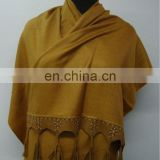 Silk Pashmina shawls with Leather Sued Trim