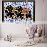 Elephant Pair Batik Indian Cotton Poster Wall Hanging Tapestry Table Cloth Boho