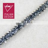 Italy design fashion navy color with lurex & chain 2 in 1 tape trim