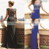 Latest Sexy Long Gorgeous Beaded Sequins High Slit Evening Dress Sheer Neck Cap Sleeve Gown