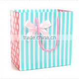blue stripes boutique tea gift bag paper