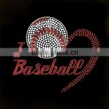 Enviromental lettersI love Baseball iron on rhinestone transfer design for clothes