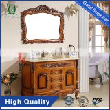 Top1 European style Glass Solid Stainless Handles Classsic Modern Mirror Bathroom Vanity Cabinet