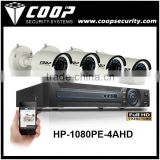 Outdoor Security Smart Phone Hybrid Analog CCTV Camera System AHD Alarm Audio 1080P 4CH DVR System AHD