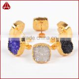 Fashion Elegant 18K Yellow Gold Cubic Druzy Stud Zirconia Earrings