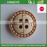 Sedex Audited Factory 2 Pillar Laser Engraved Logo 2 Holes Wooden Button