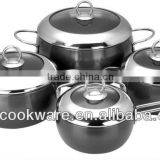 2015 New Products 8PCS High Quality 2.5mm Hard Anodized Aluminium Cookware Set With Glass Lid For Wholesale