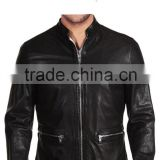 CHAIN HARDWARE POCKET INSTILLED MENS LEATHER BIKER JACKET