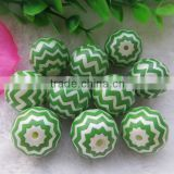 Big Discount High Quality 20MM Lime Green Waves Strips beads Jewelry Fashion Acrylic Pearl Zig zag Chevron Beads
